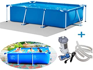 RBH Piscina de Apoyo Familiar- Piscina para ninos Tubular Desmontable- Marco Rectangular- facil de Montar y Desmontar- Durable y Adecuado para Patio